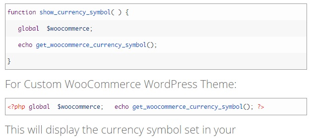 Woocommerce Currency Symbol in Wordpress