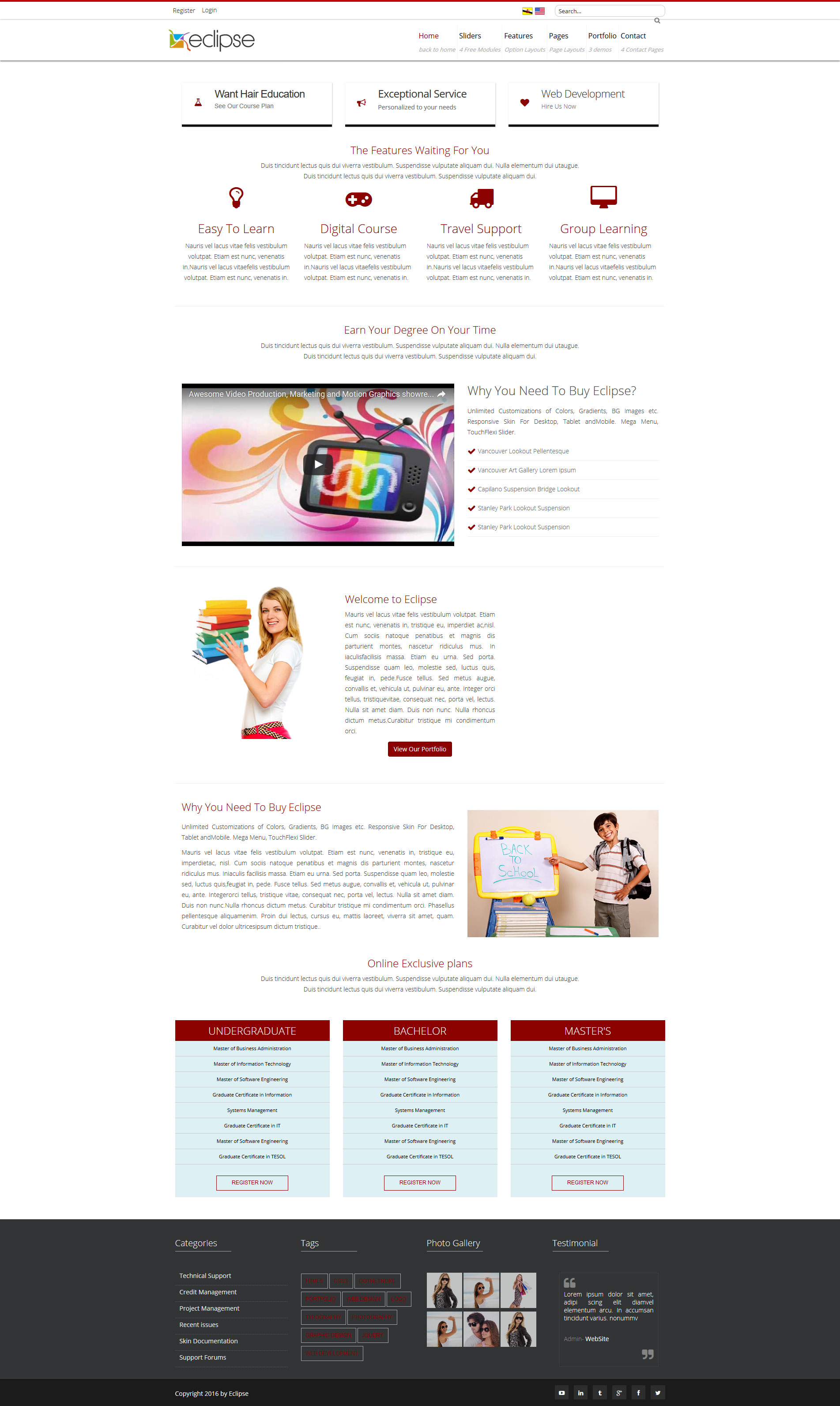 Home Pages Eclipse Dnn/Dotnetnuke theme / skin